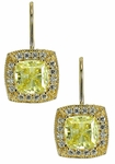 Krizzia 1 Carat Cushion Cut Cubic Zirconia Halo Pave Drop Earrings