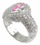 Kronos Pear 1 Carat Pink Bezel Set Cubic Zirconia Pave Encrusted Halo Solitaire Engagement Ring