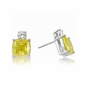 Kyra 2.5 Carat Each Cubic Zirconia Canary Cushion Cut Stud Earrings in 14K White Gold