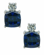 Kyra 4 Carat Each Cubic Zirconia Sapphire Blue Cushion Cut Stud Earrings in 14K White Gold