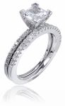 LaBelle 1 Carat Princess Cut Cubic Zirconia Pave Bridal Set