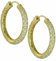 Lacey Round Pave Set Cubic Zirconia Hoop Earrings