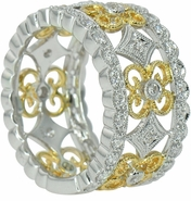Langham Pave Set Cubic Zirconia Round Antique Style Two Tone Floral Milgrain Band