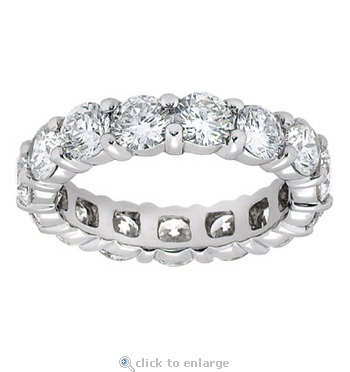 Large 4mm Each Round Cubic Zirconia Shared Prong Set Eternity Band