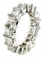 Large .50 Carat Each Princess Cut Cubic Zirconia Shared Prong Set Eternity Band