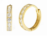 Large Mini Round Cubic Zirconia Channel Set Hoop Earrings