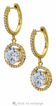 LaRue 1.5 Carat Round Halo Micro Pave Cubic Zirconia Hoop Drop Earrings