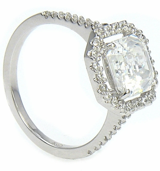 LaRue Cubic Zirconia Micro Pave Set Halo Solitaire Engagement Ring Collection Available in various shapes