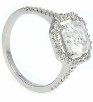 LaRue Cubic Zirconia Micro Pave Set Halo Solitaire Engagement Ring Collection <br>Available in various shapes