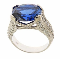 Lateese 9 Carat Man Made Sapphire Oval Gemstone Cubic Zirconia Solitaire Engagement Ring