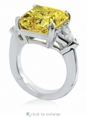 Laurent 8.5 Carat Canary Princess Cut Split Prong Set and Trillion Cubic Zirconia Engagement Ring
