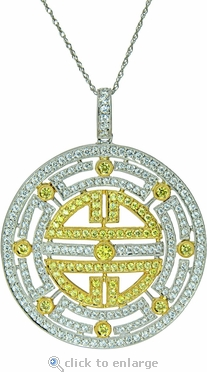 Le Meridien Two Tone Cubic Zirconia Asian Style Simulated Canary Diamond Pendant