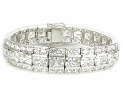 LeBaron Channel Set Emerald Radiant Cut Round Cubic Zirconia Men's Bracelet