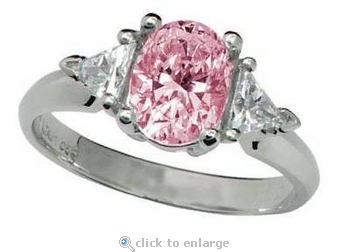 Legally Blonde 2 Style 1.5 Carat Pink Oval Cubic Zirconia Trillion Solitaire Engagement Ring