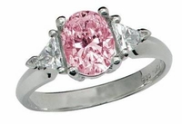 Legally Blonde 2 Style 3.5 Carat Pink Oval Cubic Zirconia Trillion Solitaire Engagement Ring