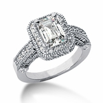 Legend 1.5 Carat Emerald Cut Cubic Zirconia Pave Halo Cathedral Solitaire Engagement Ring