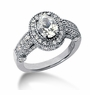 Legend 1 Carat Oval Cubic Zirconia Pave Halo Cathedral Solitaire Engagement Ring
