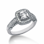 Legend 1 Carat Princess Cut Cubic Zirconia Pave Halo Cathedral Solitaire Engagement Ring