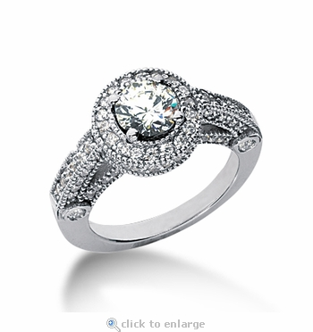 Legend 1 Carat Round Cubic Zirconia Pave Halo Cathedral Solitaire Engagement Ring