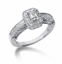 Legend .50 Carat Emerald Cut Cubic Zirconia Pave Halo Cathedral Solitaire Engagement Ring