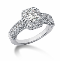 Legend .75 Carat Emerald Cut Cubic Zirconia Pave Halo Cathedral Solitaire Engagement Ring