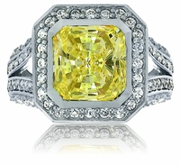 Lennon 7 Carat Princess Cut Bezel Set Cubic Zirconia Halo Pave Solitaire Engagement Ring