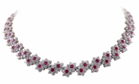 Letizia Flower Floral Cubic Zirconia Round Halo Statement Necklace