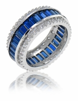 LeVal Channel Set Baguette and Prong Set Round Cubic Zirconia Eternity Band