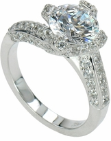Lexie 2 Carat Round Cubic Zirconia Twist Pave Solitaire Engagement Ring