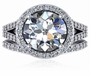 Libertine 3 Carat Round Pave Halo Cubic Zirconia Split Shank Cathedral Wedding Set