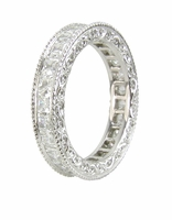Lillian Victorian Engraved Channel Set Princess Cut Cubic Zirconia Eternity Band