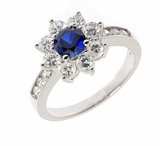 Lillith .50 Carat Man Made Sapphire Round Halo Cluster Cubic Zirconia Solitaire Engagement Ring