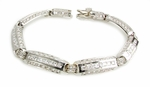 Linkage Channel Set Princess Cut and Round Cubic Zirconia Unisex Link Bracelet