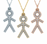 Little Boy Stick Figure Pave Cubic Zirconia Charm Pendant