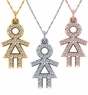 Little Girl Stick Figure Pave Cubic Zirconia Charm Pendant
