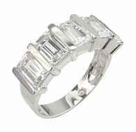 Lockeed Five Stone Emerald Cut Channel Set Cubic Zirconia Band