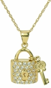 Lockeya Lock and Key Pave Set Cubic Zirconia Pendant