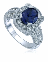 Logan 1.5 Carat Oval Man Made Sapphire Pave Cubic Zirconia Halo Solitaire Engagement Ring