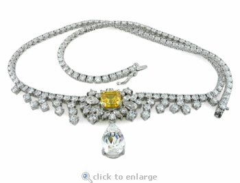 Londyn Asscher Pear Cubic Zirconia Tear Drop Statement Tennis Necklace