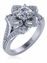 Lotus Flower Cubic Zirconia 1 Carat Round Split Shank Pave Solitaire Engagement Ring