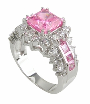Louisa 1.5 Carat Pink Cubic Zirconia Princess Cut Halo Engagement Ring