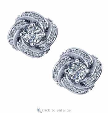 Love Knot Mini .25 Carat Each Round Cubic Zirconia Pave Stud Earrings