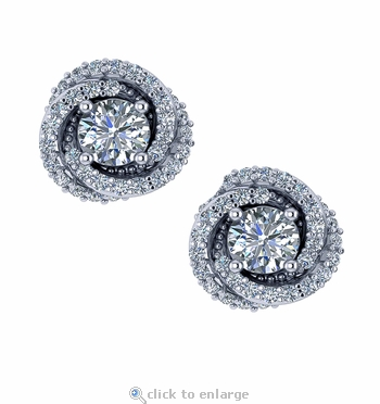 Love Knot .50 Carat Each Round Cubic Zirconia Pave Stud Earrings