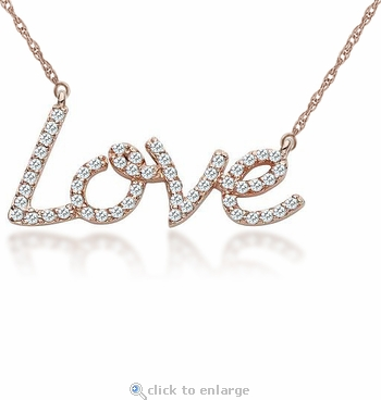 Love Pave Set Cubic Zirconia Pendant Necklace