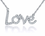 Love Pendant Pave Set Cubic Zirconia Necklace Petite Size