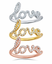 Love Ring Pave Diamond Look Cubic Zirconia Band