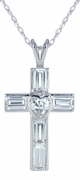 Lovisa Bezel Set Heart and Emerald Step Cut Cubic Zirconia Cross Pendant