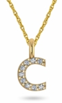 Lower Case Initial Monogram Block Letter Pave Set Cubic Zirconia Pendant