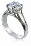 Luccia 1.5 Carat Round Trellis Setting Cubic Zirconia Solitaire Engagement Ring in Platinum