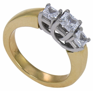 Luccia Three Stone .75 Carat Cubic Zirconia Princess Cut Two-Tone Trellis Anniversary Ring